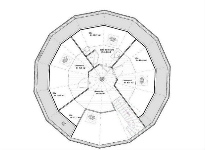 Sehr plan maison en l avec 4 chambres DL78